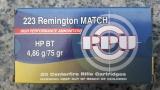 PPU A-495 .223Rem 75gr HP-BT Match Line